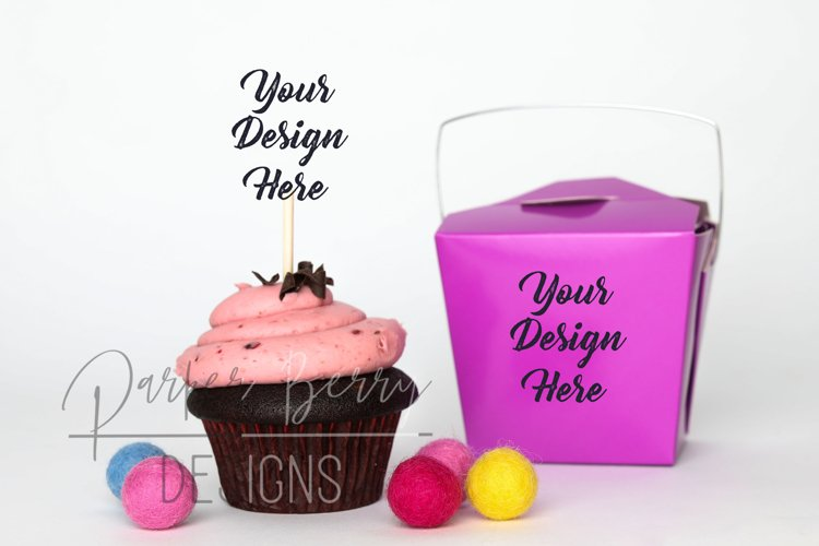 Berry Chocolate Cupcake Topper Purple Takeout Box Mock up example image 1