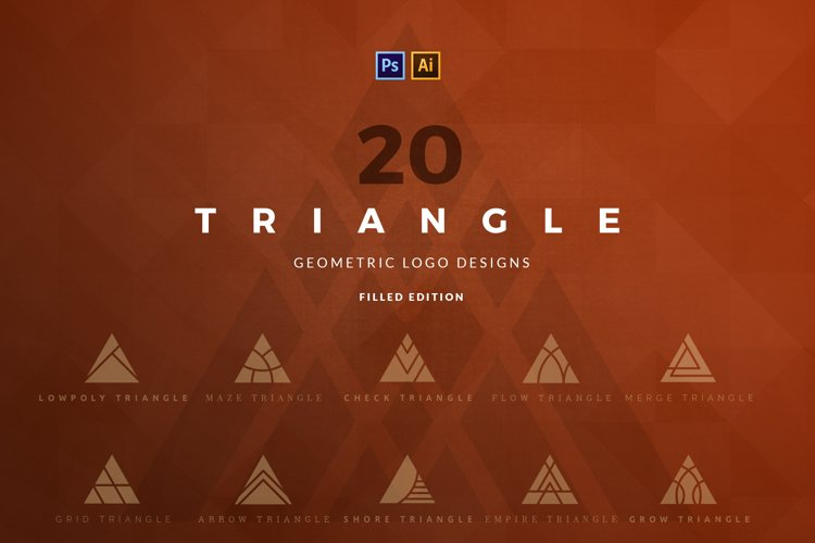 20 Triangle Logos - Filled edition example image 1