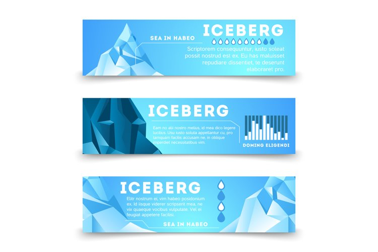 Nature information banners template with iceberg example image 1
