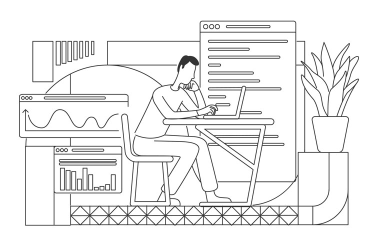 Employee writing financial report linear vector illustration example image 1