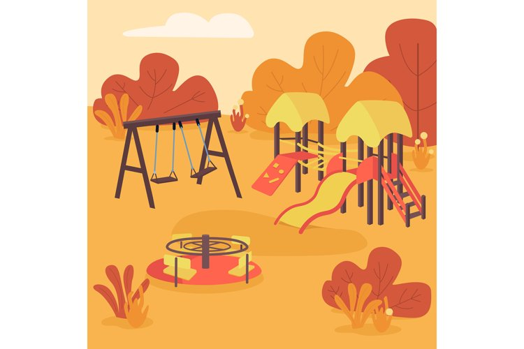 Autumn play area flat color vector illustration example image 1