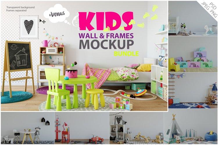 Kids Wall & Frames Mockup - BUNDLE example image 1