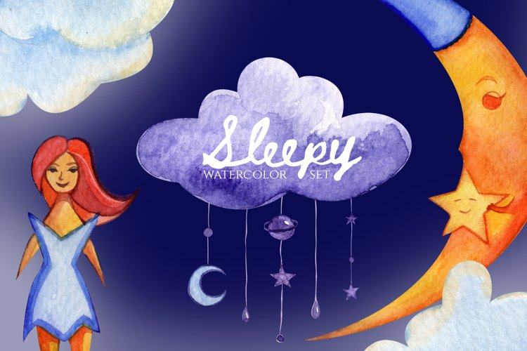 Sleepy set. Stars and clouds. The moon in pajamas. Star