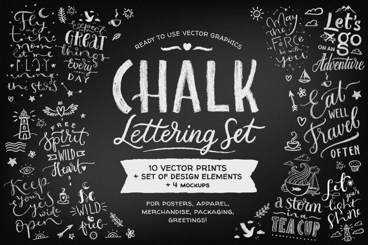 Chalk Lettering Set, Vector example image 1