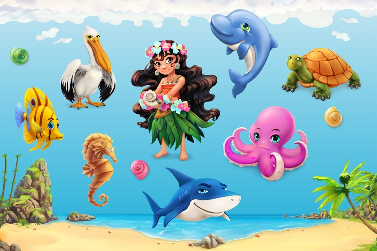 Cute little girl, sea animals, beach background, game icons