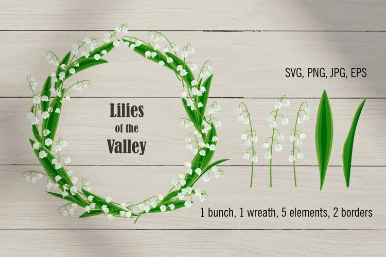 Lilies of the Valley. Floral clipart set. SVG PNG JPG EPS