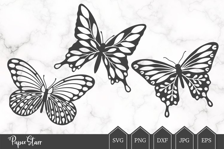 Set of Three Butterfly SVG/DXF Cut Files example image 1