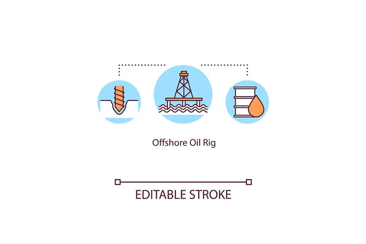 Offshore oil rig concept icon example image 1