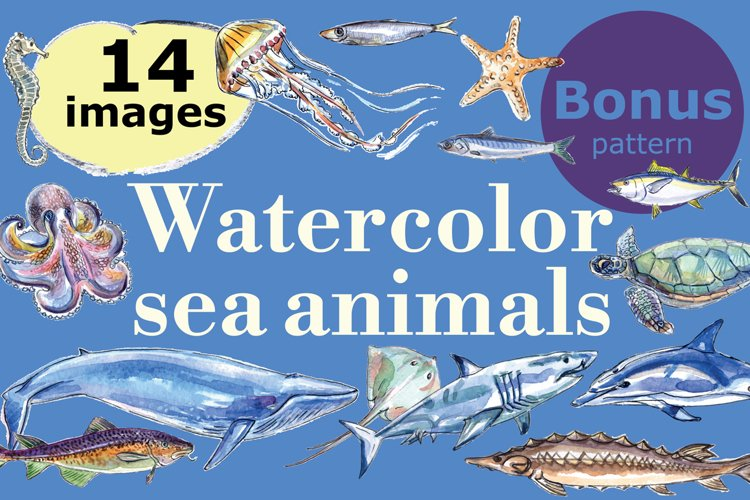 Watercolor sea animals & bonus! example image 1