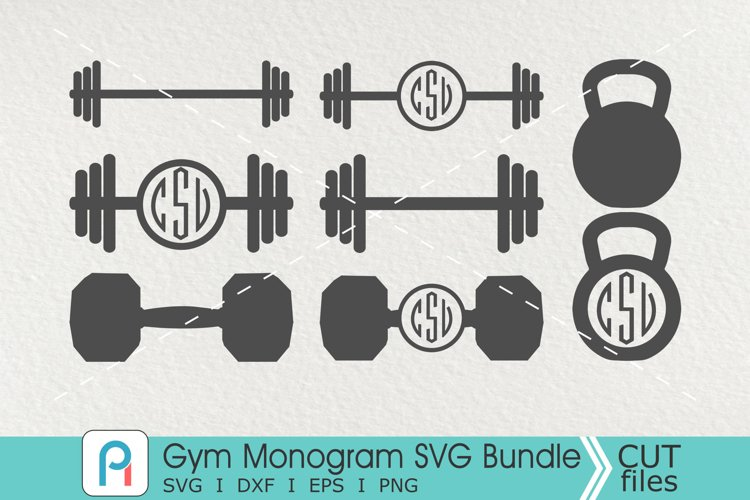 Gym Monogram Svg, Gym Svg, Gym Clipart, Barbell Svg example image 1