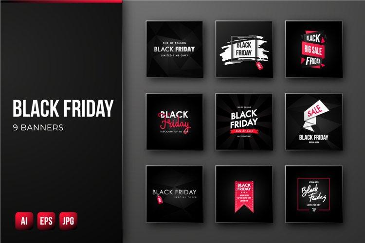 Black Friday Sale banners bundle. 9 square promo designs.