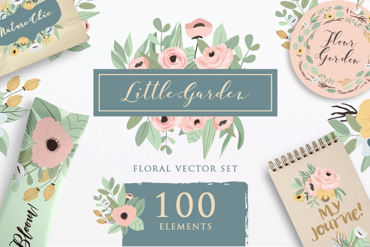 Little Garden - Floral Vector Set example image 1
