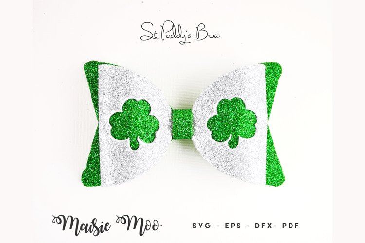 Saint Paddys Bow SVG, St Patrick Shamrock Bow Template example image 1