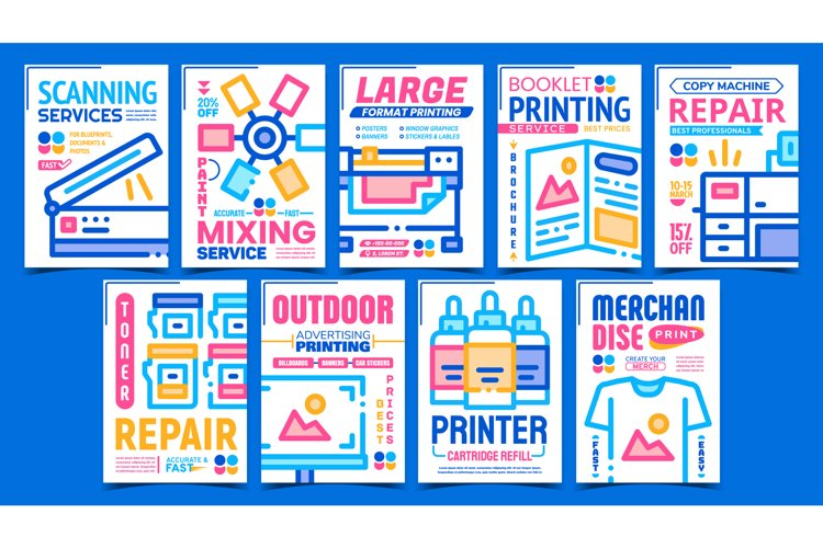Polygraphy Service Advertising Posters Set Vector example image 1