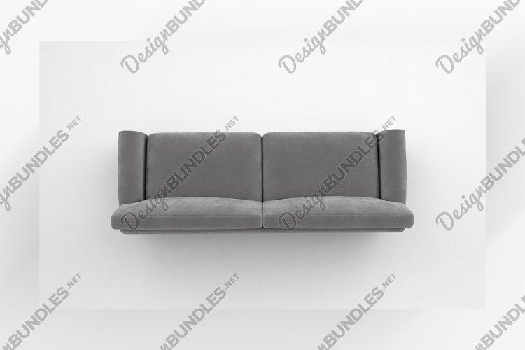 Luxury light grey sofa top view furniture 3d rendering example image 1