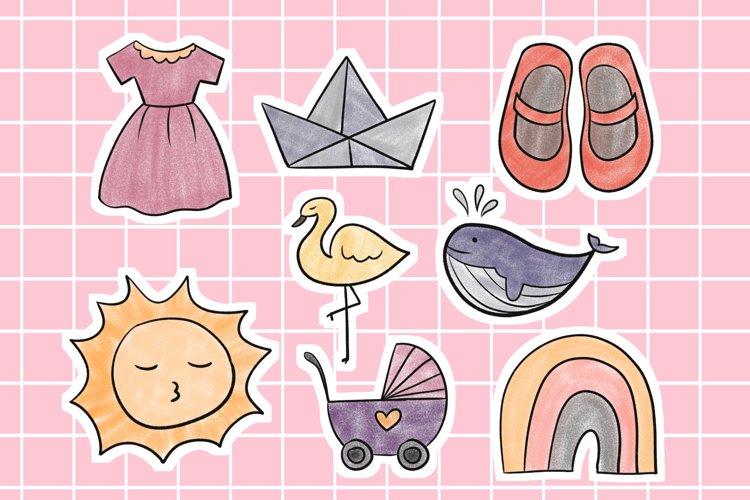 Newborn Baby Sticker Cute Illustration