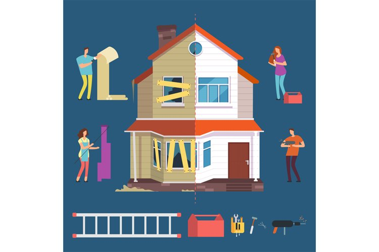 Repair and renovation house vector concept. People with tool example image 1
