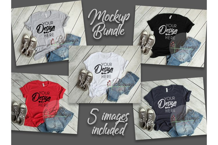 Bella Canvas Mockup Bundle T Shirt Flat Lay Bundle 5 images example image 1