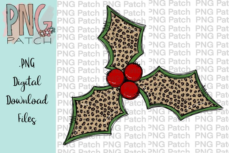 Leopard Print Holly Berry, Christmas PNG File, Sublimation example image 1