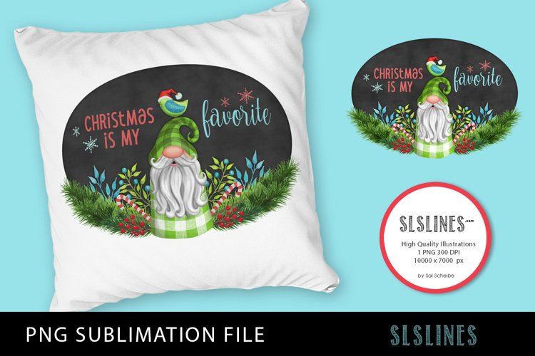 Christmas Gnome Green Plaid PNG sublimation example image 1
