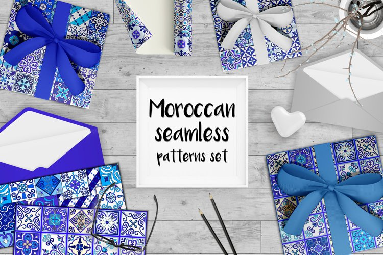 Moroccan seamless patterns set example image 1