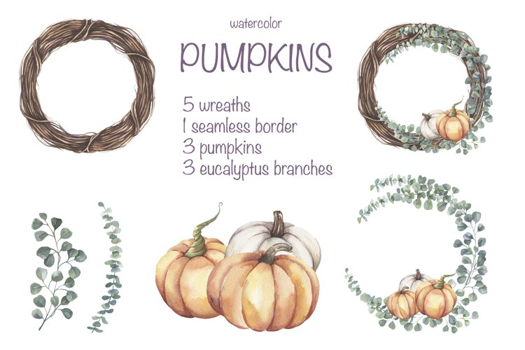 Watercolor Eucalyptus and Pumpkins Wreaths Collection. example image 1