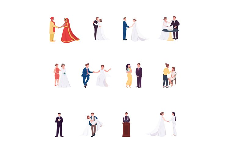 Wedding Ceremony - Flat Color Vector Faceless Characters Set