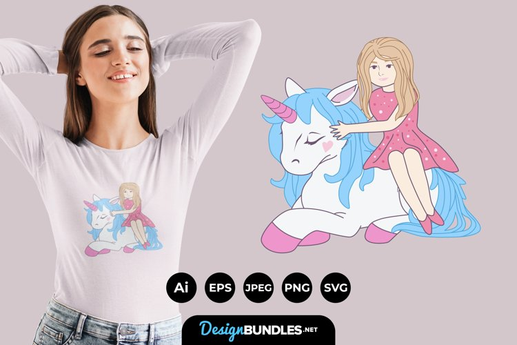 Cute Girl and Unicorn for T-Shirt Design example image 1
