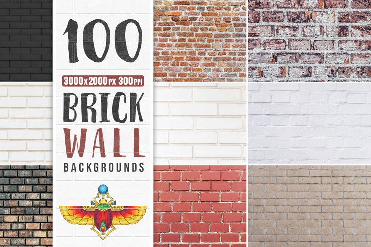 100 Brick Wall Backgrounds Pack example image 1