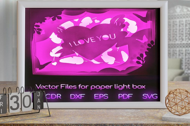 Valentine's day Light box PNG SVG DXF CDR template Papercut example image 1