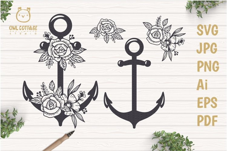 Anchor with Flowers SVG, Nautical Wedding Decor Cut File example image 1