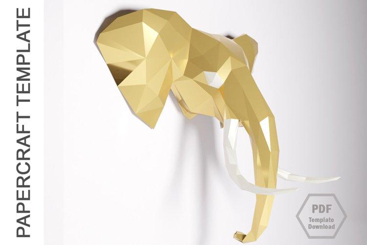 PDF Template of Elephant Papercraft /3D Elephant Lowpoly PDF example image 1
