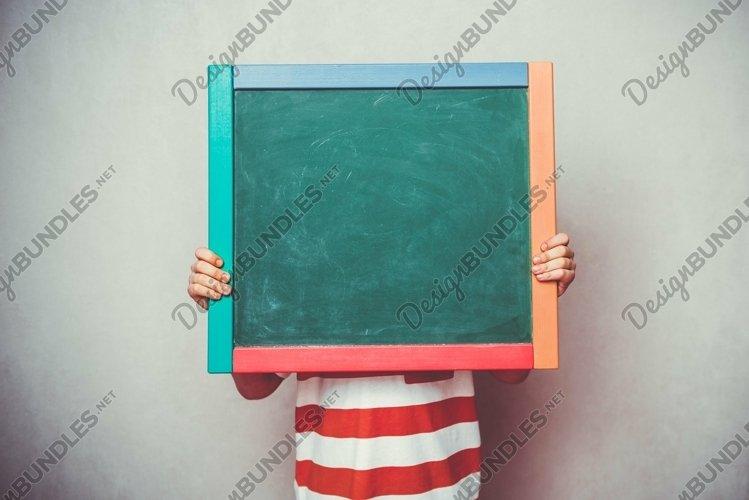 Little boy holding school green board banner example image 1
