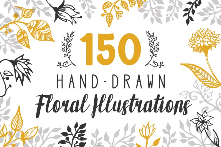 150 Hand-Drawn Floral Illustrations example image 1