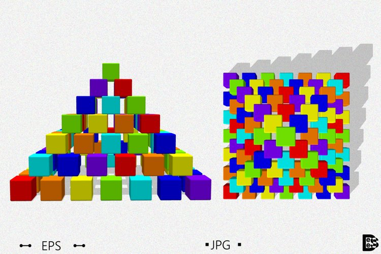 Pyramid from toy building blocks. 3d Vector illustration. example image 1