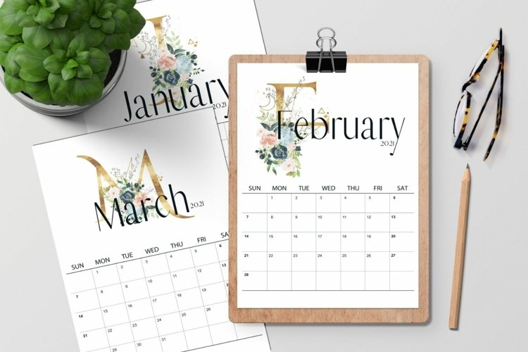 2021 Monthly Calendar, Wall Art, Vertical Calendar
