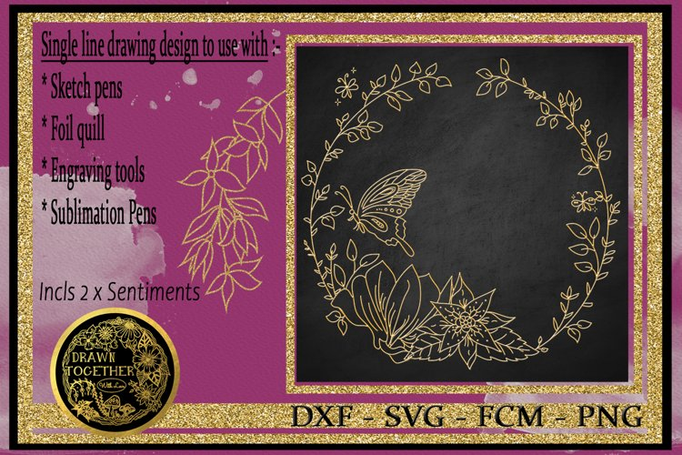 Butterfly Haven - Single line for Foil Quill, Digi Stamp