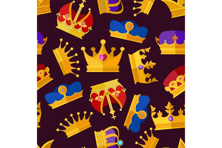 Luxury crowns set. Vector seamless pattern isolate on dark b example image 1