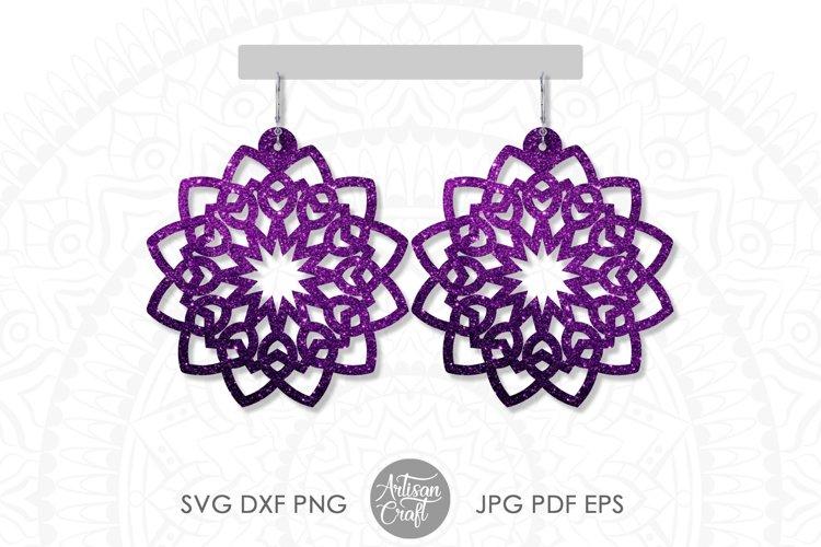 Mandala earring svg, earring template, faux leather earrings example 1