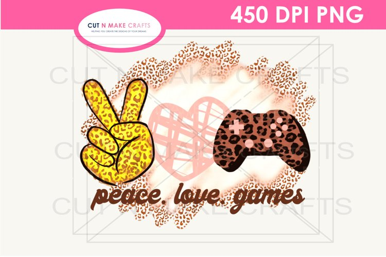 Peace Love Games Sublimation Design for T-shirts Gaming Tee example image 1