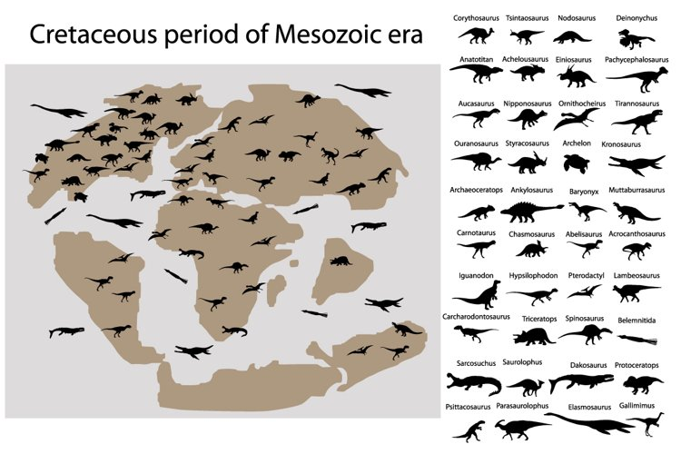 Dinosaurs of cretaceous period on map example image 1