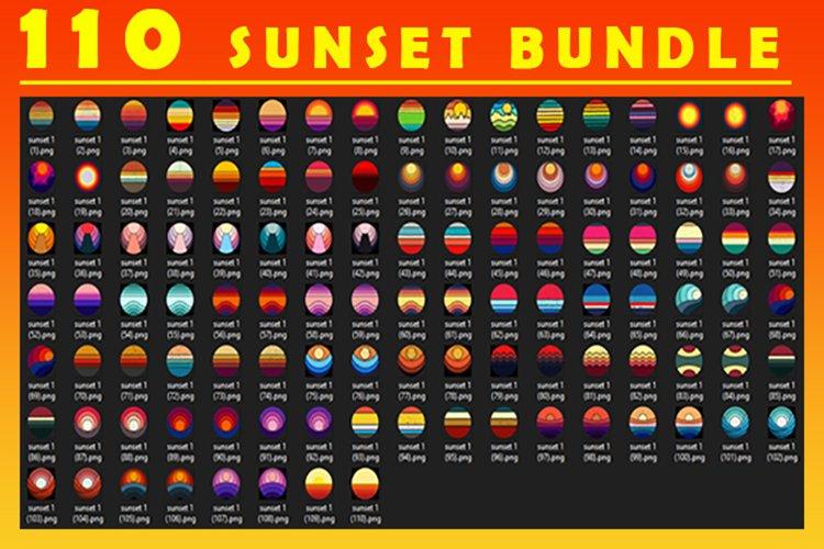 Vintage retro Sunset circle Bundle