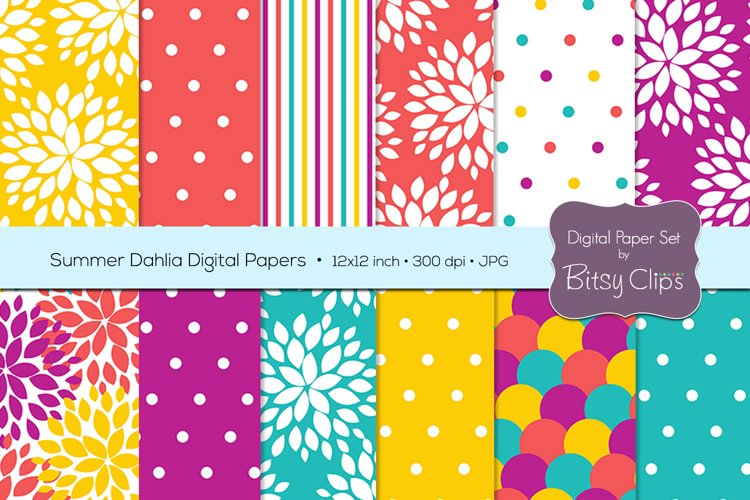 Summer Dahlia Digital Paper Set Scrapbook Paper Floral Scrapbook Paper example image 1