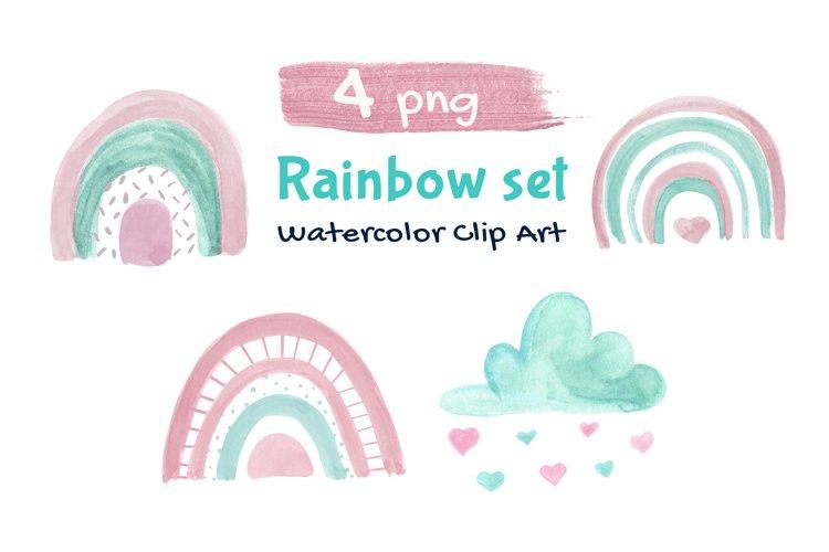 Rainbow Illustration Boho Clip Art example image 1
