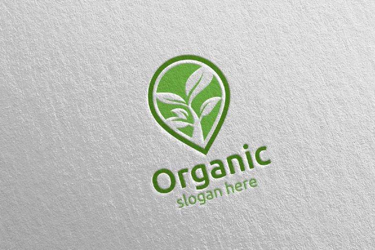 Pin Locator Natural and Organic Logo design template 6 example image 1