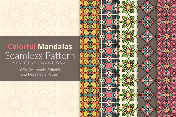 Colorful Mandalas Seamless Pattern Pack example image 1