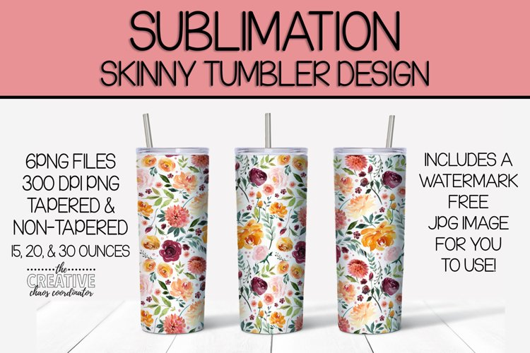 Floral Skinny Tumbler Sublimation Template example image 1