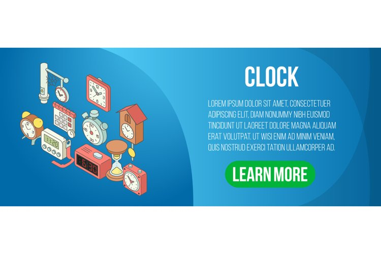 Clock concept banner, isometric style example image 1