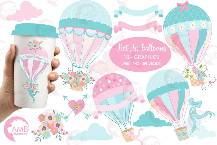 Hot Air Balloons, graphic, illustration, clipart AMB-1388  example image 1