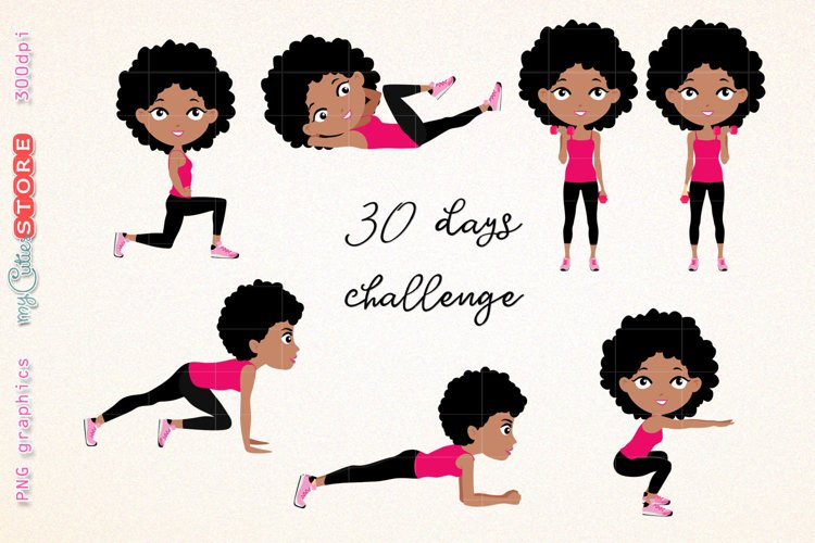 Afro girl fitness workout. cute girl 30 days challenge clipart, clip art illustration workout set for planner stickers, scraps or digital planning.